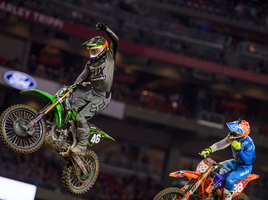 Monster athlete Justin Hill competing at the 2017 Supercross in Glendale, Arizona