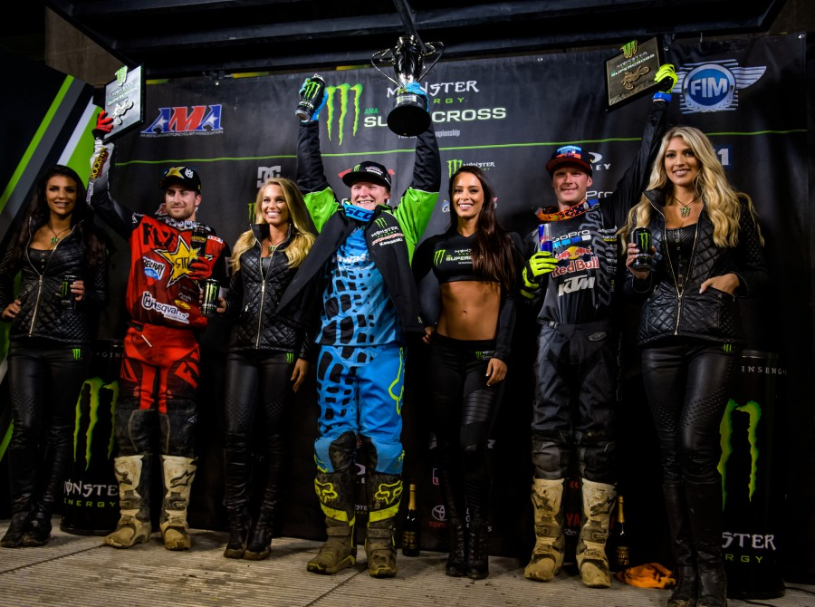 Josh Hill wins during stop 5 of the 2017 Supercross season in Oakland, CA