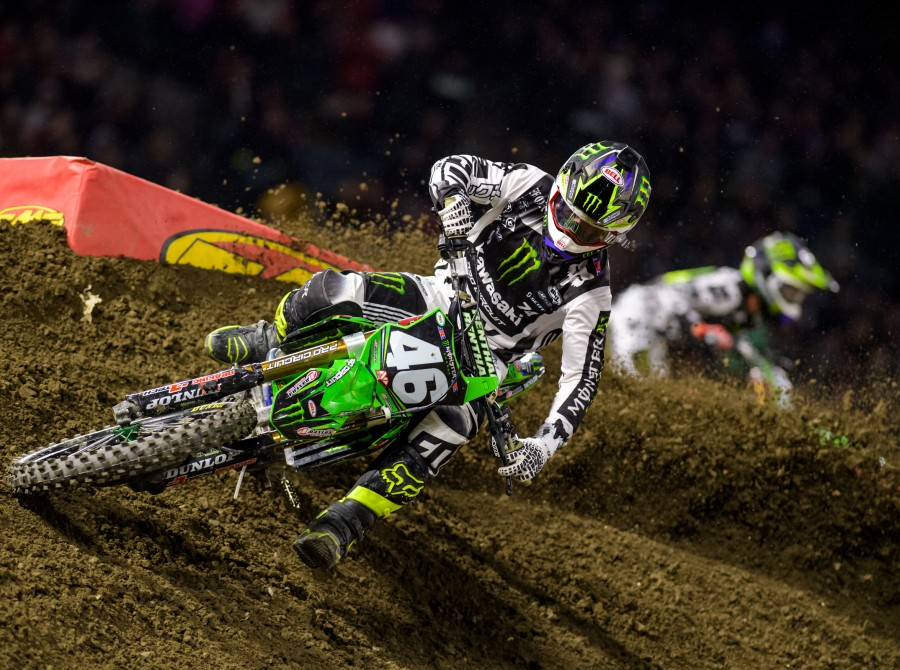 Justin Hill, winner of the final 250 race, at the 2017 Supercross in Anaheim, California Stop 2