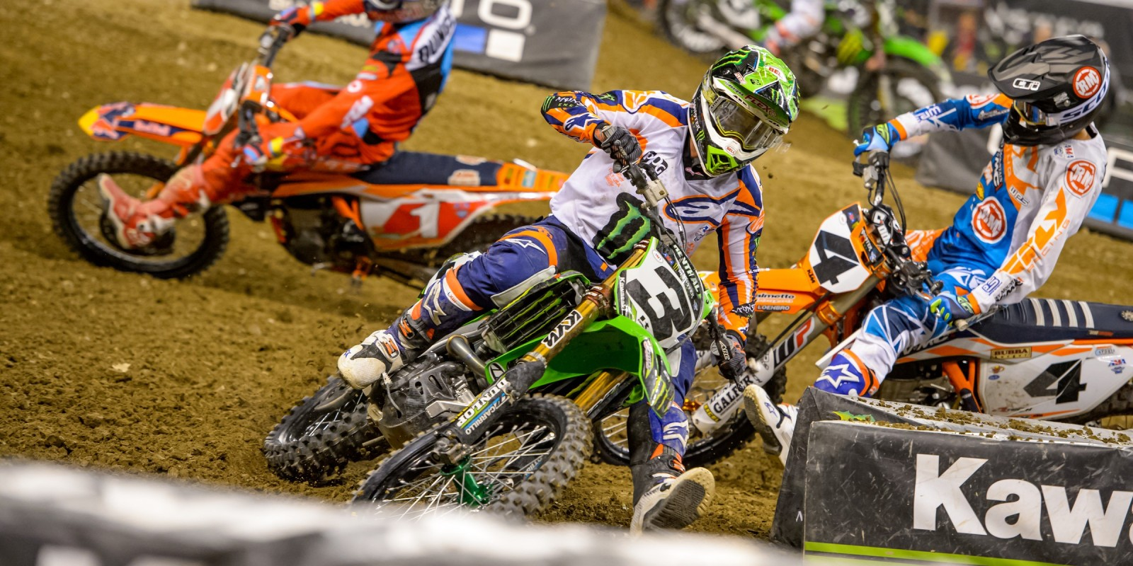 Monster riders at the 2017 Supercross in Indianapolis, IN
