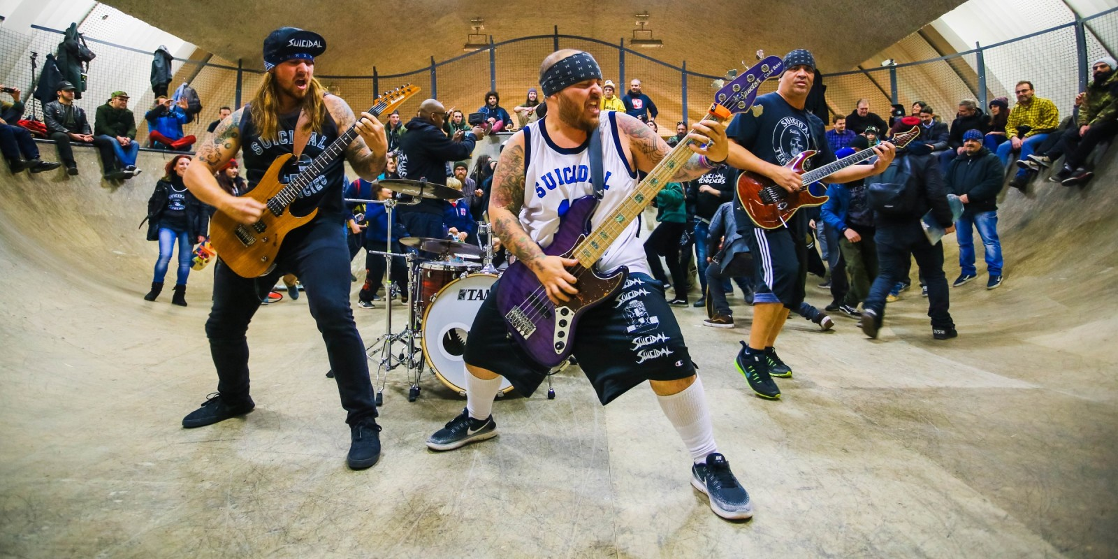 Suicidal Tendencies recording their new video at Bastard Bowl with skaters riding