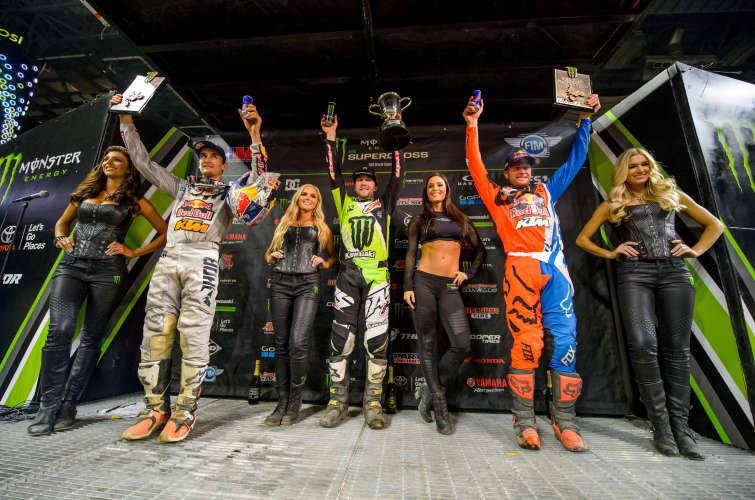 Eli Tomac wins at the 2017 AMA Supercross season at Ford Field in Detroit, Michigan
