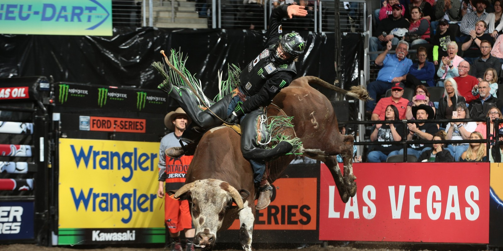 Derek Kolbaba rides Dakota Rodeo/Chad Berger/Clay Struve/Chase Bass's Red Bandana for 86.75 during the championship round of the Sioux Falls Built Ford Tough series PBR