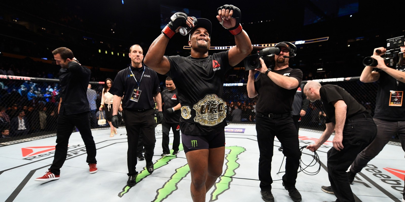 UFC Light Heavyweight Champion Daniel Cormier celebrates after defeating Anthony Johnson during the UFC 210 event at the KeyBank Center on April 8, 2017 in Buffalo, New York