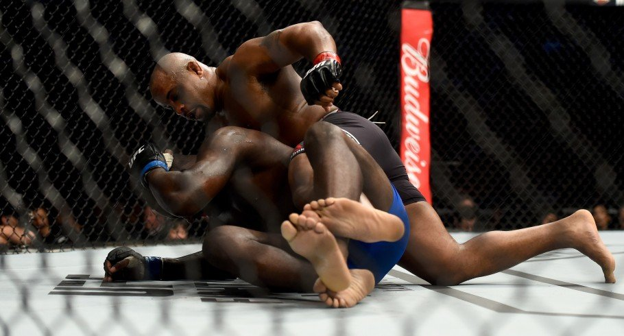 Daniel Cormier punches Anthony Johnson during the UFC 210 event at the KeyBank Center on April 8, 2017 in Buffalo, New York