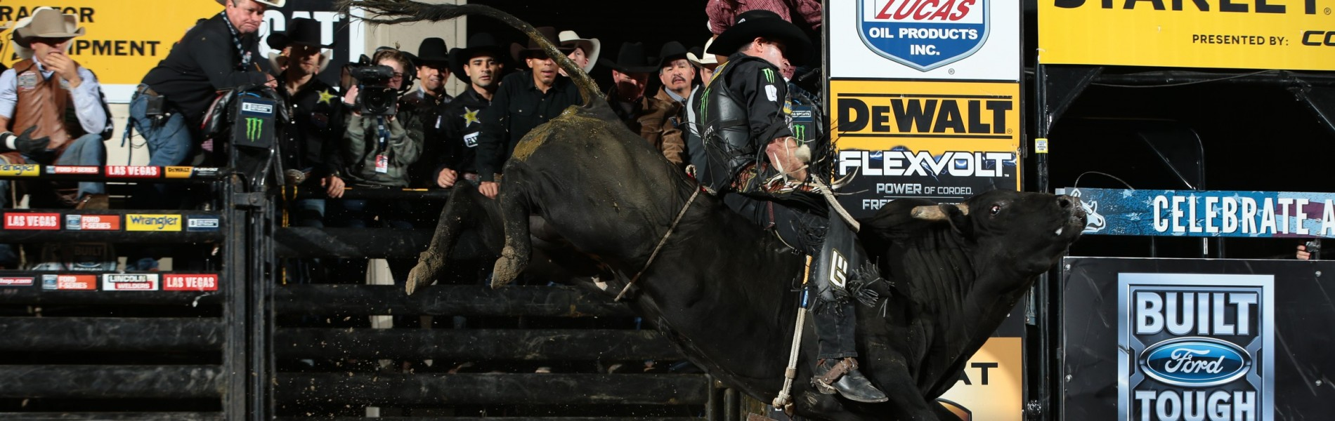Guilherme Marchi rides D&H Cattle Company's Shocker for 86.25 for his 600th bull ride during the second round of the Billings Built Ford Tough series PBR.