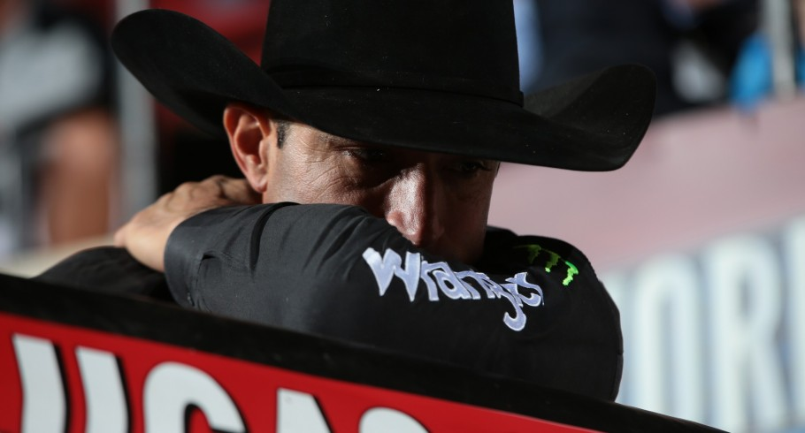 Guilherme Marchi during the first round of the Billings Built Ford Tough series PBR.