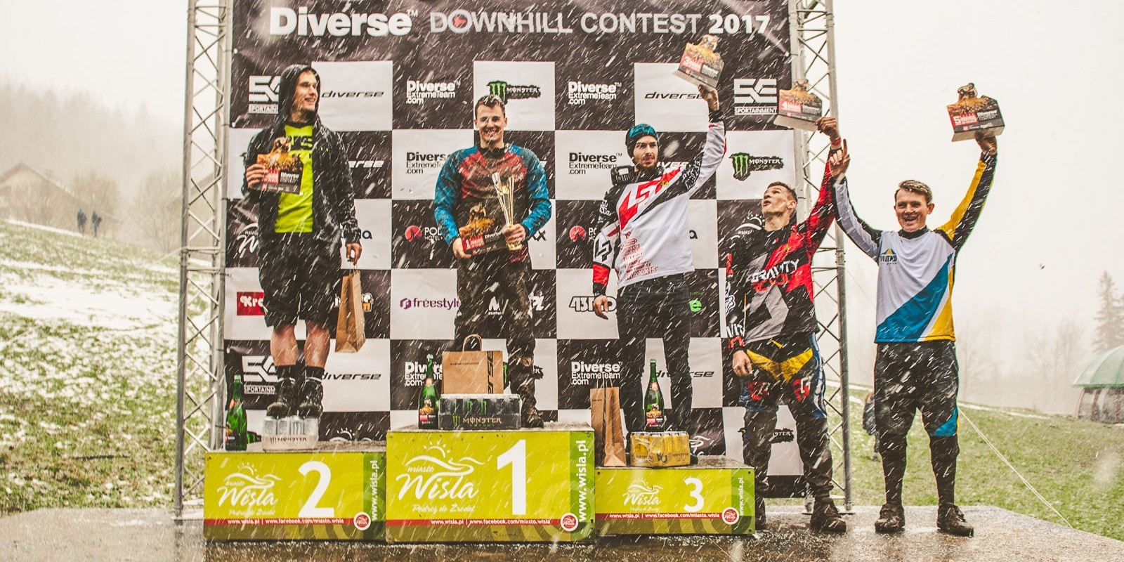 Diverse Downhill Contest 2017 Round 1 held in Wisła, Poland - podium of the Elite Men category