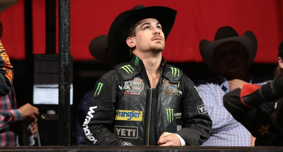 Chase Outlaw during the second round of the Glendale Built Ford Tough series PBR. Photo by Andy Watson