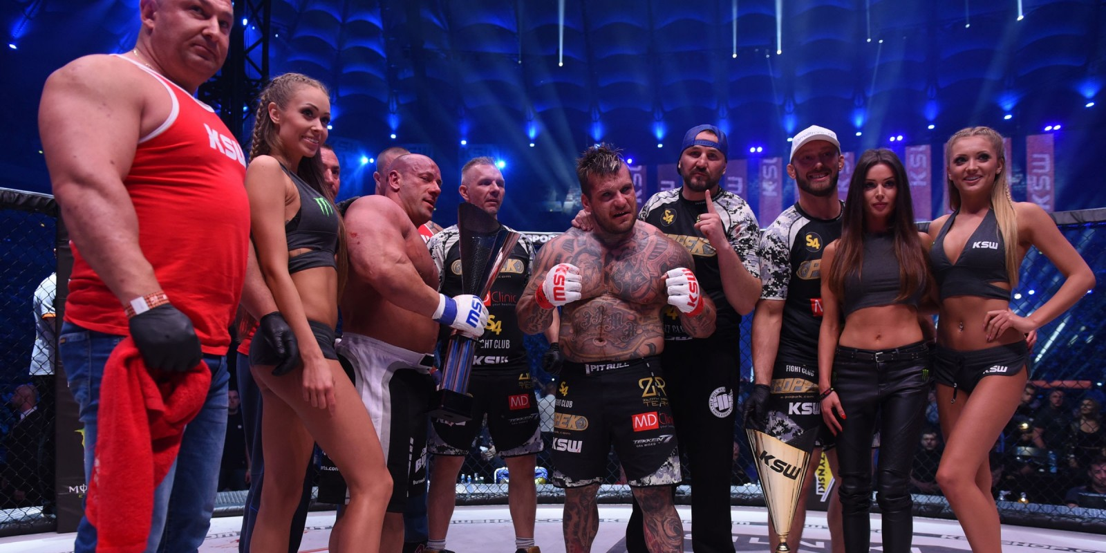 KSW39 Colosseum MMA gala at National Stadium in Warsaw - celebration after one of the fights