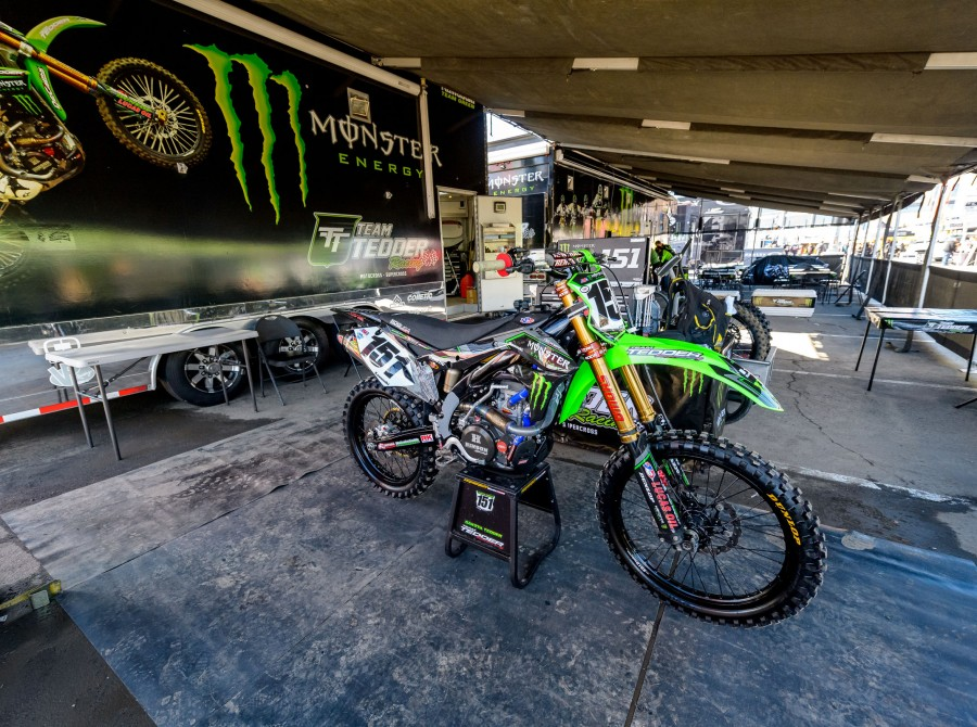 Monster athletes at the 2017 Supercross in Anaheim, California Stop 2