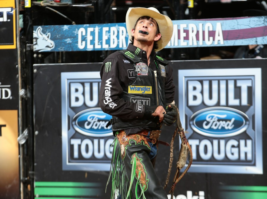 JB Mauney rides Rickey West Bucking Bulls's Rebel Yell II for 85.75 during the championship round of the Jacksonville Built Ford Tough series PBR
