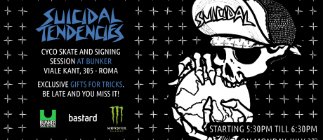 admat flyer for Suicidal Tendencies Italy signing session