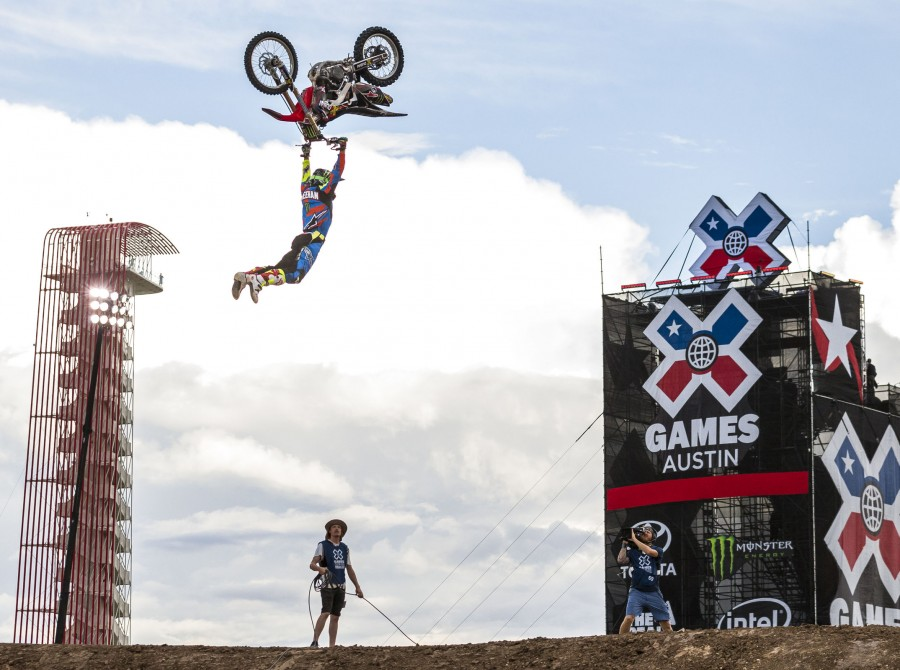 Monster riders compete in the Freestyle competition in the 2016 Summer X-Games in Austin, Texas.