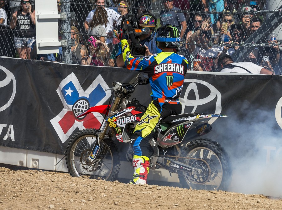 Monster riders compete in the Freestyle best trick competition in the 2016 Summer X-Games in Austin, Texas.
