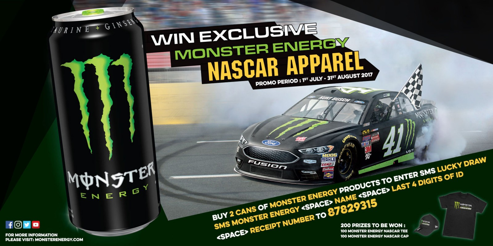 Win Exclusive Monster Energy NASCAR Apparels