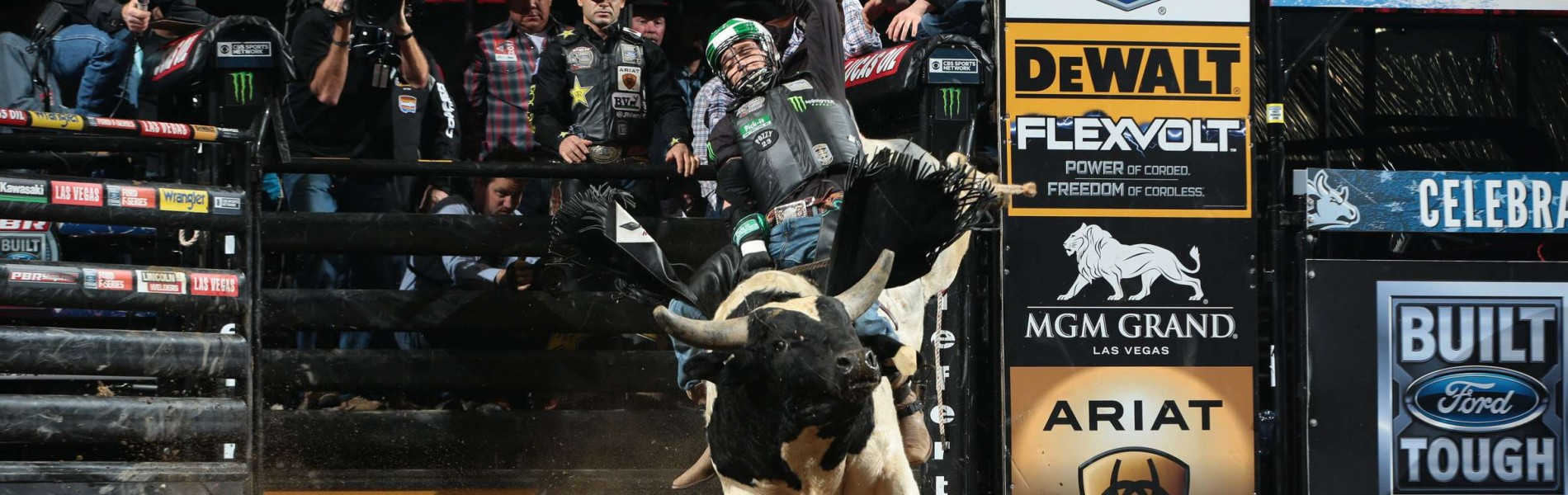 Gage Gay rides Nunes Livestock's Lucifer for 77.75 during the first round of the Anaheim Built Ford Tough series PBR