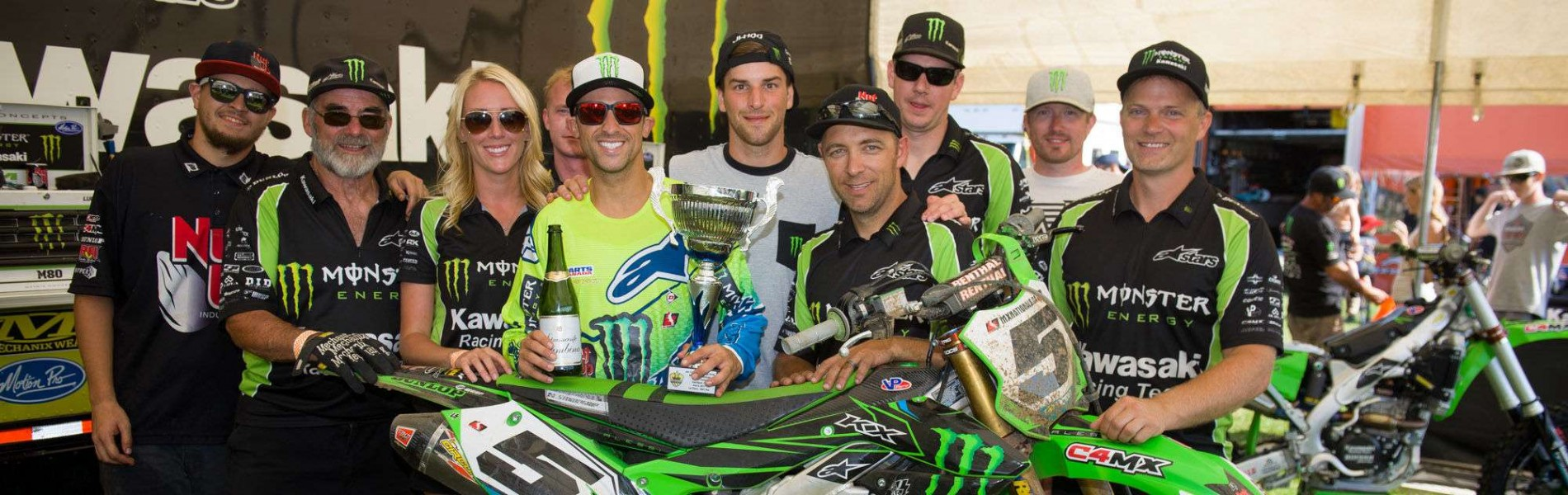 Lifestyle and action shots of Mike Alessi, Team Monster Energy Alpinestars Kawasaki & Jacob Hayes from the 2017 Canadian MX Nationals at Gopher Dunes in Courtland, Ontario