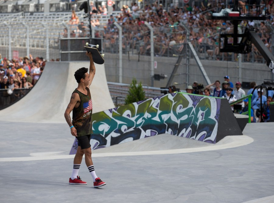 Nyjah Huston during the Skate Street Finals at 2014 X-Games in Austin.