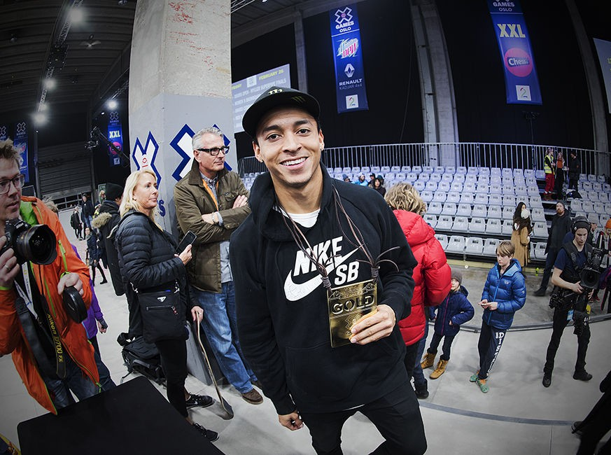 Nyjah Huston competes in the 2016 Winter X Games in Oslo.