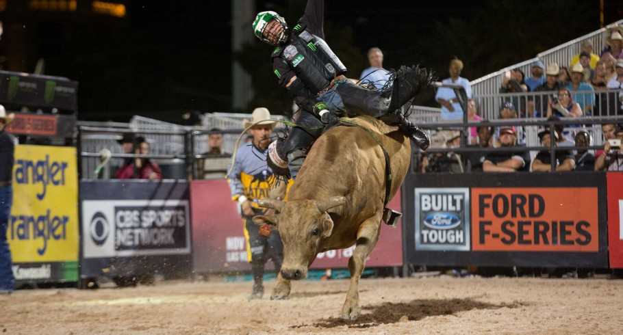 Gage Gay rides Bar 3D Bucking Bulls's Cowboy Phil for 86.25 during the first round of the Las Vegas Last Cowboy Standig Built Ford Tough series PBR