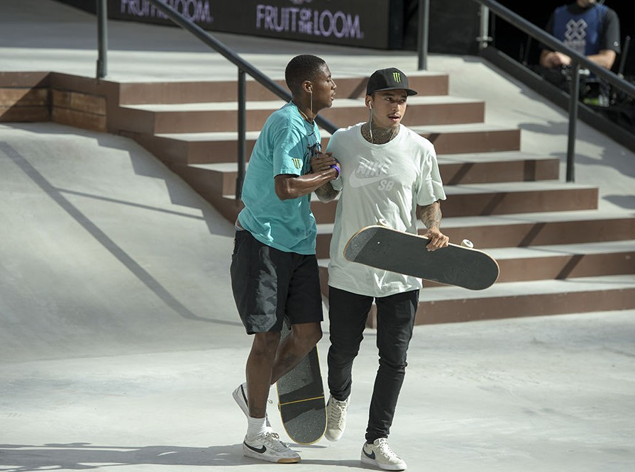 Nyjah Huston places bronze for the Mens Skate Park Finalsat the 2017 Summer X Games