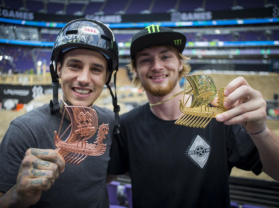 Kyle Baldock and Colton Walker with their medal at Summer X-Games