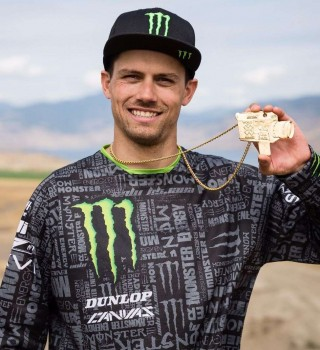 Photos of Kris Foster with his X-Games RealMoto gold medal.