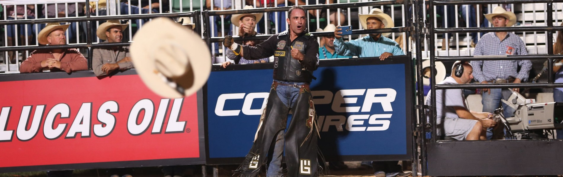 Guilherme Marchi during the second round of the Thackerville Built Ford Tough series PBR