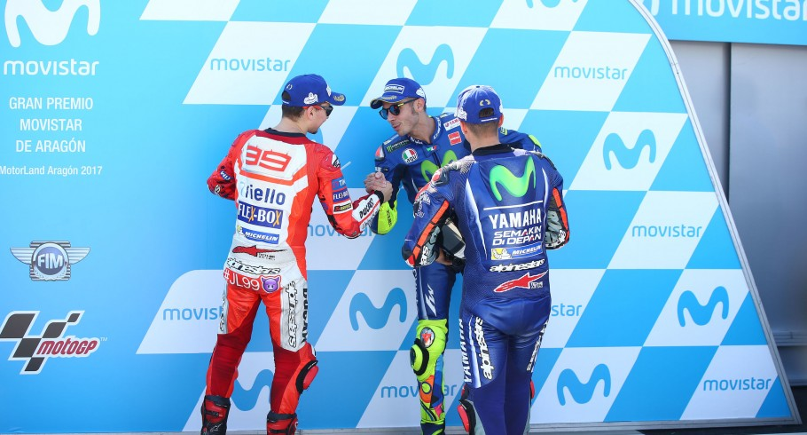 Maverick Vinales placed 1st, while Jorge Lorenzo placed 2nd and Valentino Rossi 3rd at the 2017 Aragon Grand Prix