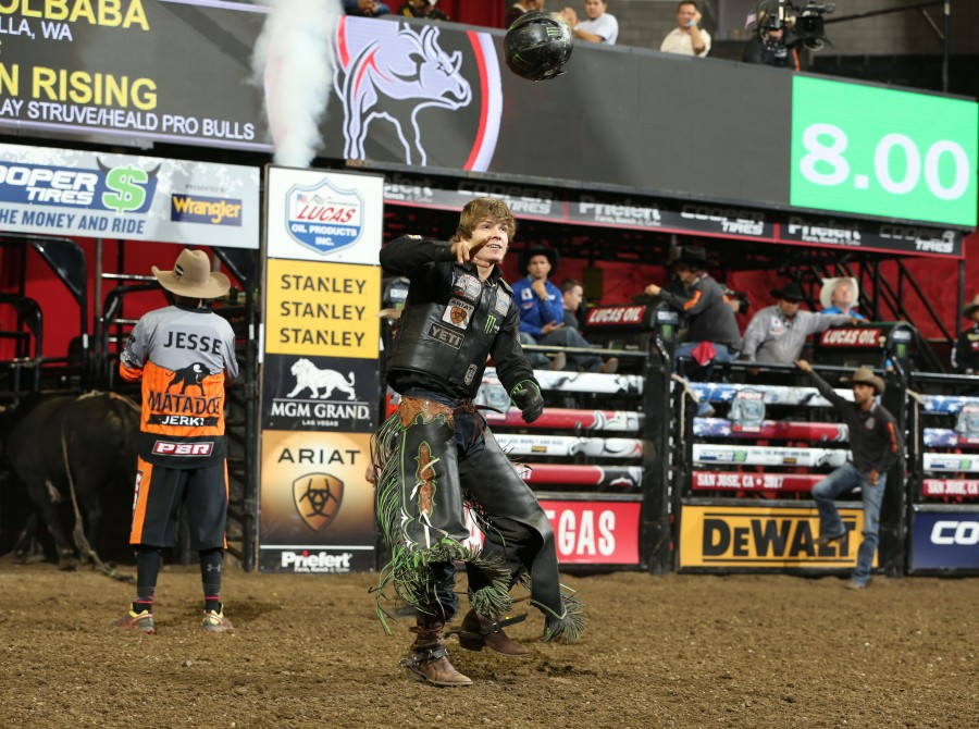 Derek Kolbaba rides Dakota Rodeo/Chad Berger/Clay Struve/H&C Bucking Bulls's Don't Tread On Me for 85.25 during the second round of the San Jose Built Ford Tough series PBR.