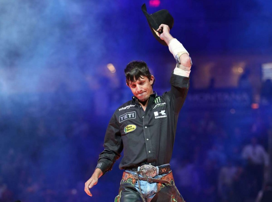 JB Mauney in the opening during the second round of the Built Ford Tough series PBR World Finals