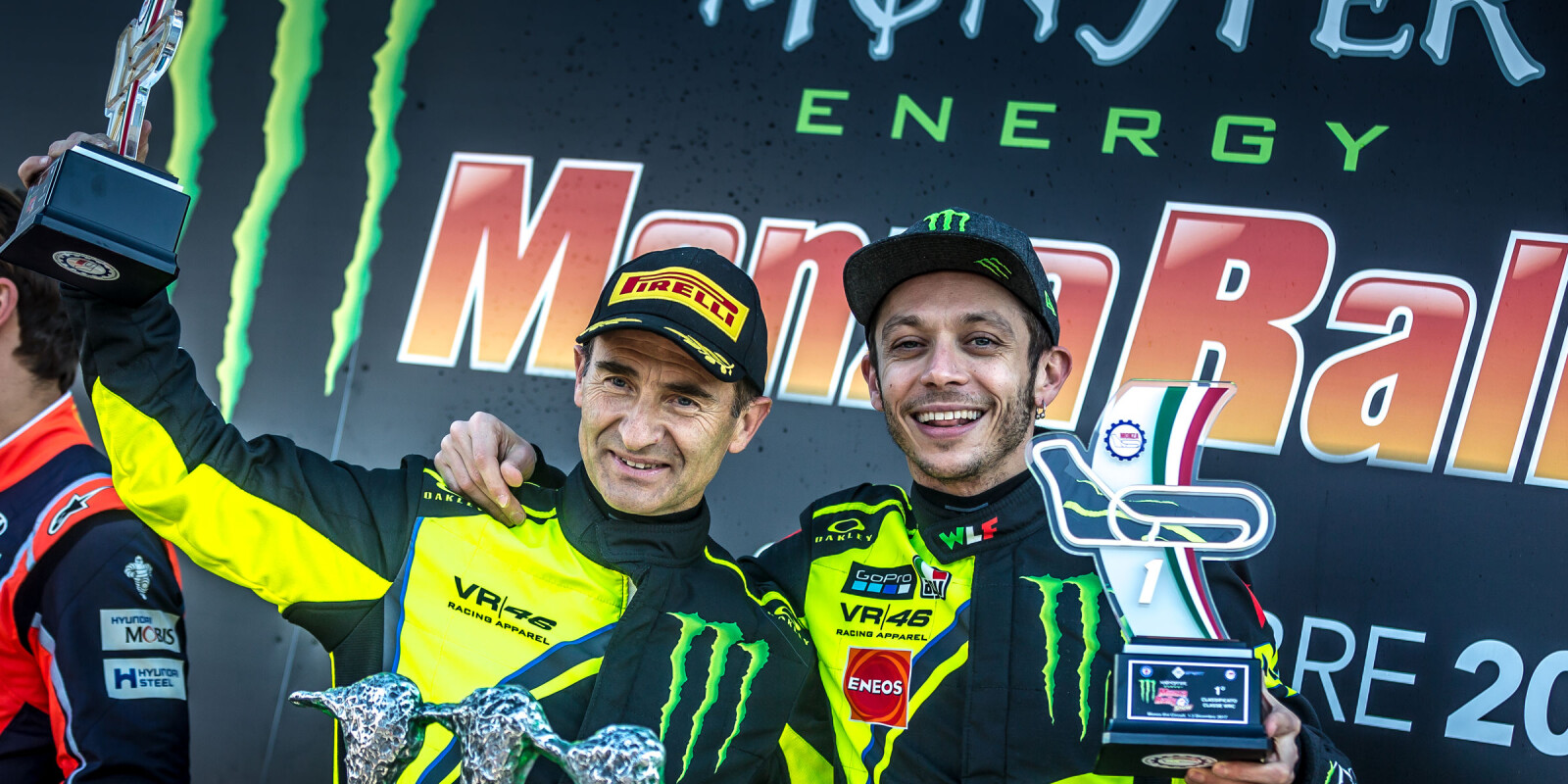 Valentino Celebrating the victory of Monza Rally Show before the Master Show 2017