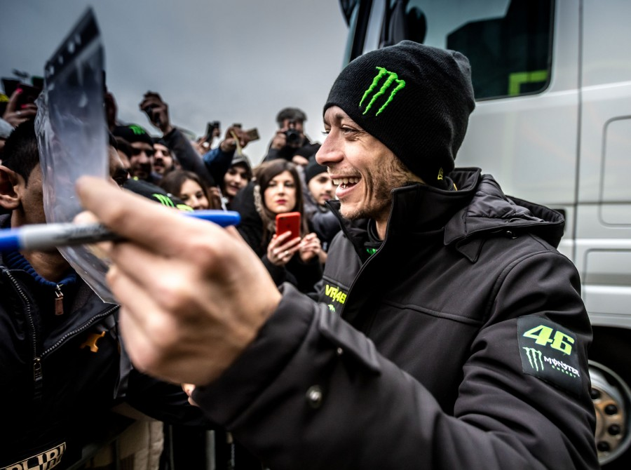 Valentino Rossi driving on the special stages and garage ambience at Monza Rally Show 2017