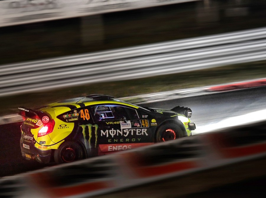 Valentino Rossi in action at Monza Rally by night