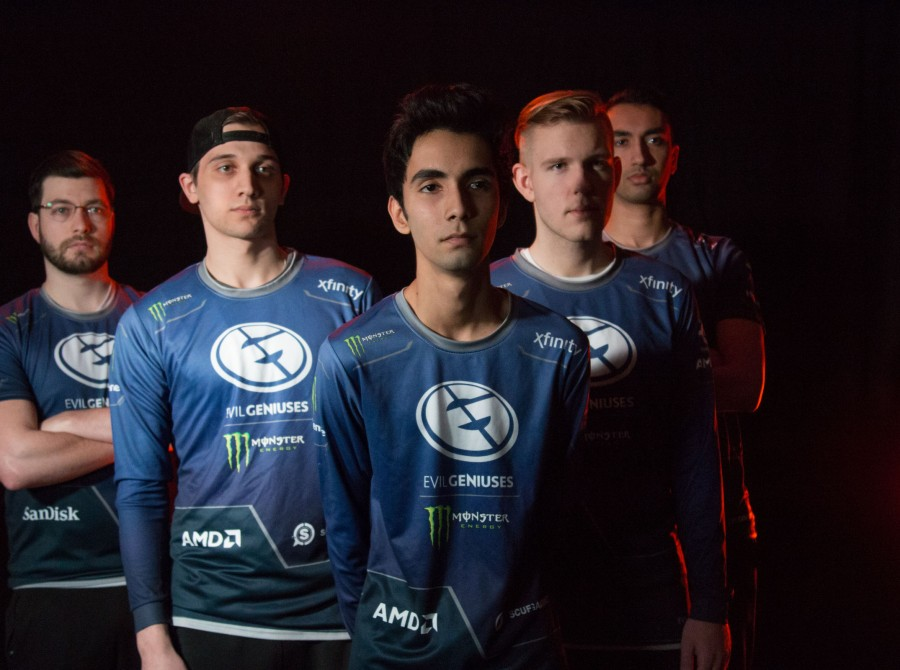 Photos of Evil Geniuses Dota 2 at DreamHack Winter, Dreamleague Season 8 finals in Jonkoping, Sweden.