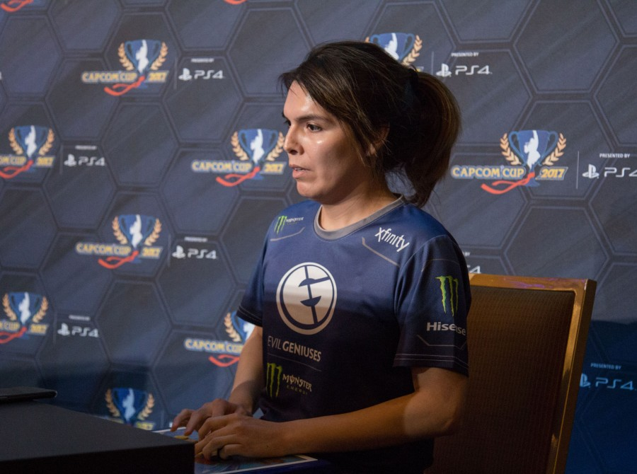 Photos of Street Fighter players at Capcom Cup with Xian and Ricki Ortiz of Evil Geniuses