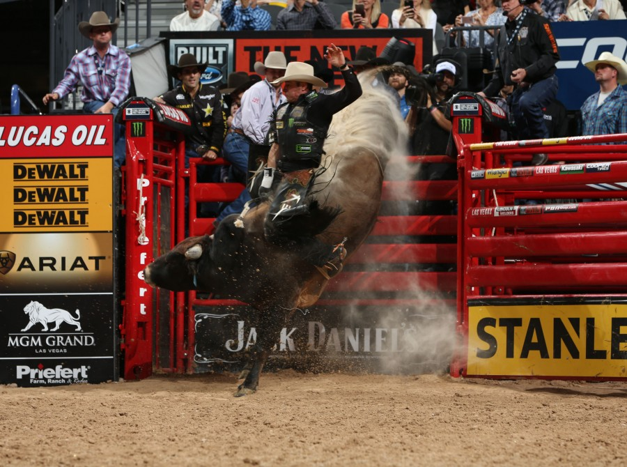 Guilherme Marchi attempts to ride L&E Bull Co's Burn It Down during the second round of the Built Ford Tough series PBR World Finals.