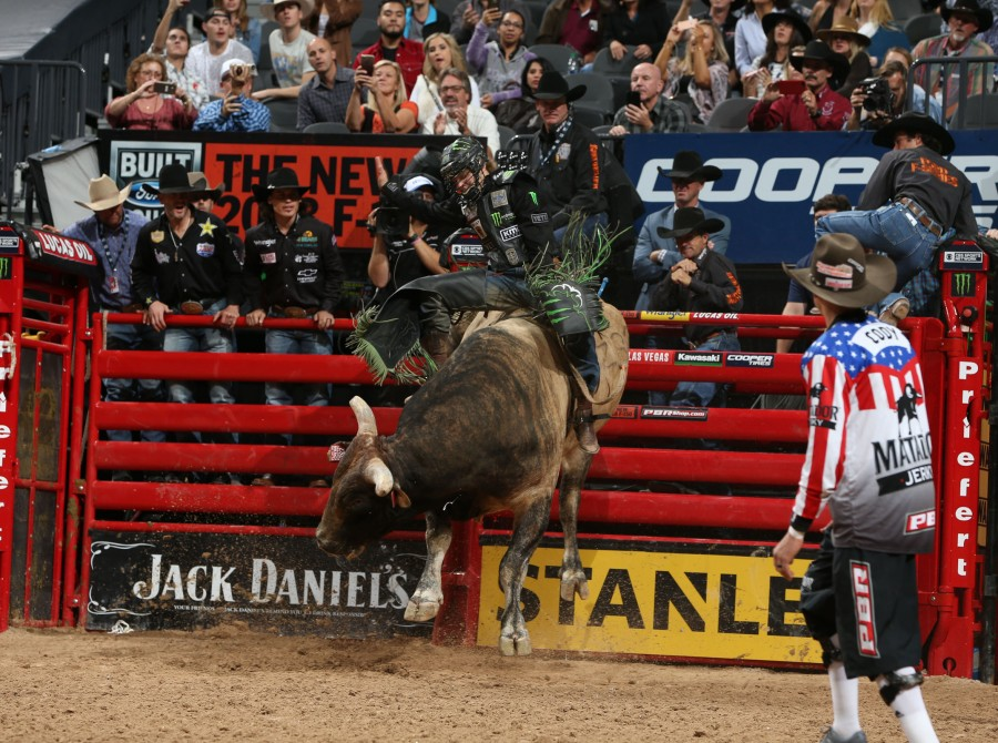 Derek Kolbaba rides D&H Cattle Co./Buck Cattle Co.'s Cracker Breaker for 75 and gets a reride during the second round of the Built Ford Tough series PBR World Finals
