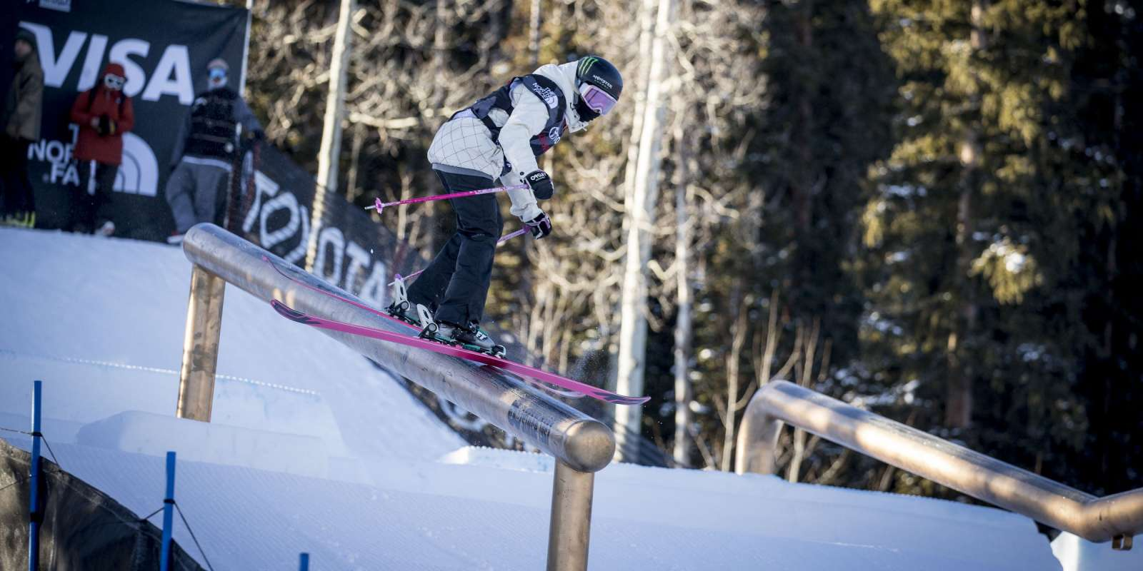 Monster atheletes compete in the Slope Finals Ski in Aspen, Colorado
