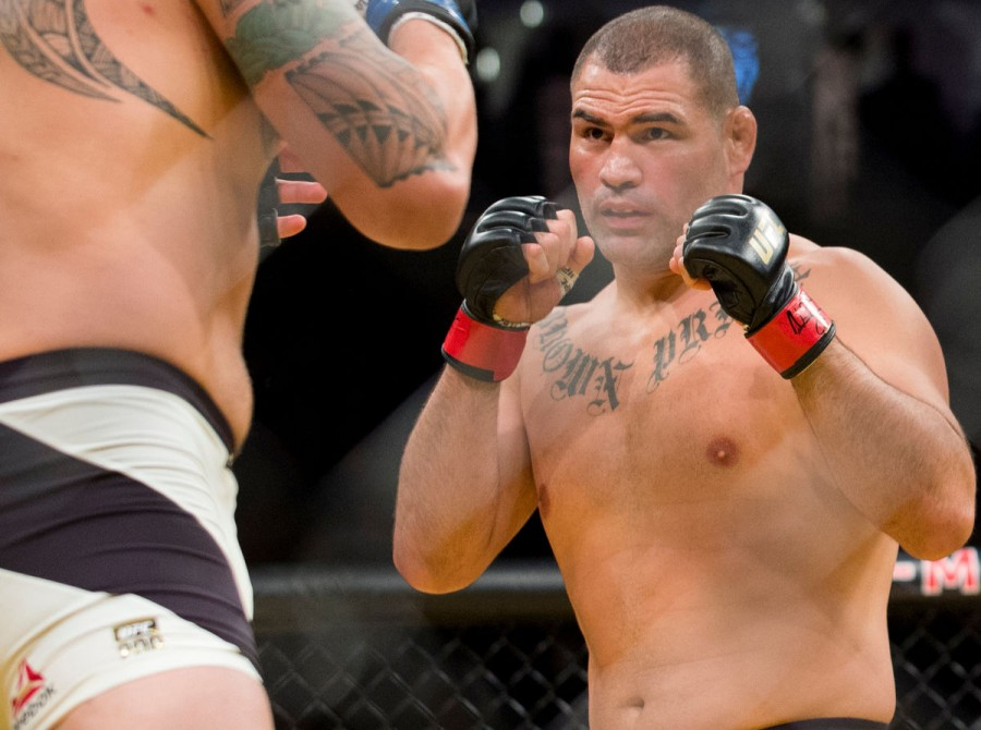 Cain Velasquez fights against Travis Browne during UFC 200 at T-Mobile Arena on July 9, 2016 in Las Vegas, Nevada.