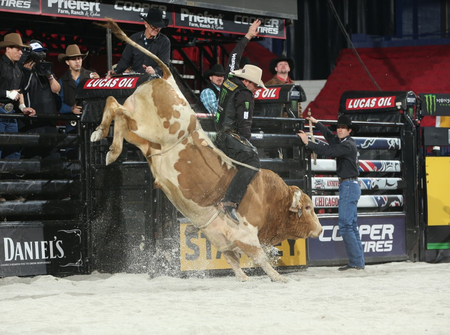 Guilherme Marchi rides Broken Arrow Bucking Bulls's Nailed for 86 during the first round of the Chicago Unleash the Beast PBR.
