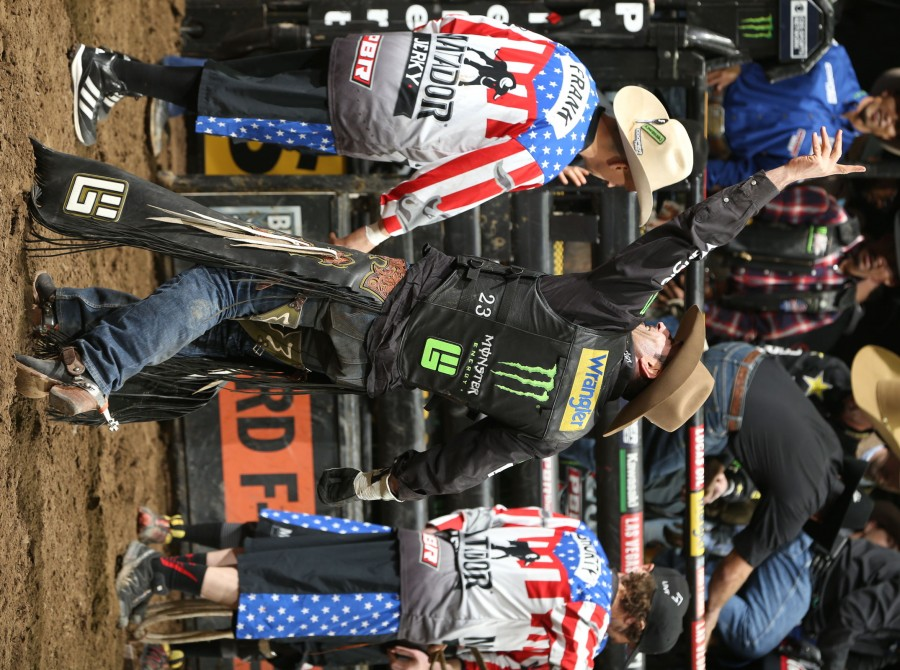 Guilherme Marchi rides Bill Henson/Gene Owen/Floyd Bucking Bulls's The Punisher for 86.25 during the first round of the Kansas City PBR 25th Anniversary Unleash the Beast