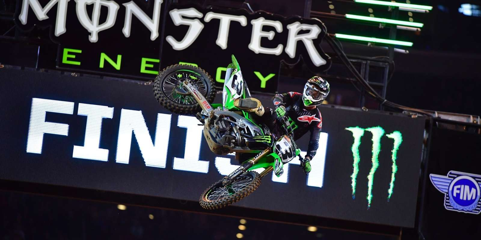 Monster athletes at the 7th stop of Supercross season in Arlington, TX