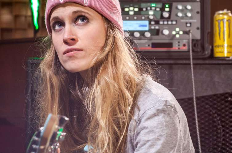 Merel Bechtold during a studio session at Mantis Audio