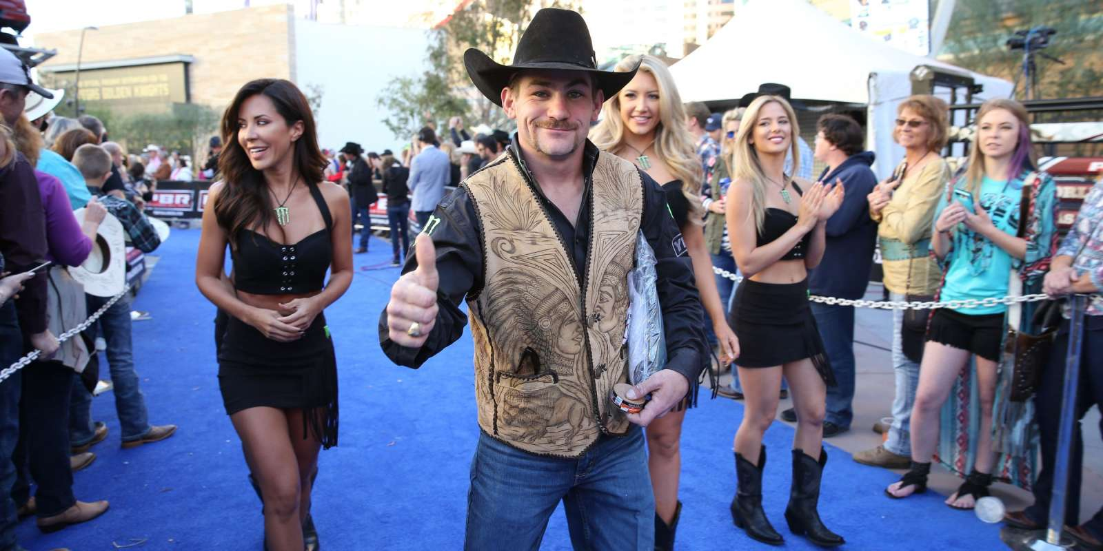 Chase Outlaw on the Ford Blue Carpet during the third round of the Built Ford Tough series PBR World Finals