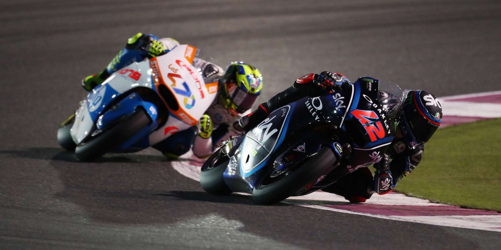Monster athletes on Sunday at the 2018 MotoGP in Losail, Qatar