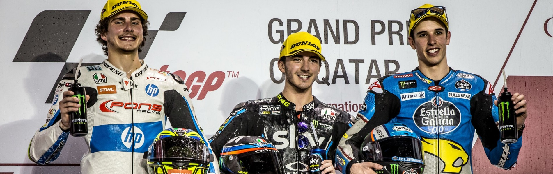Moto2 podium at the 2018 GP of Qatar