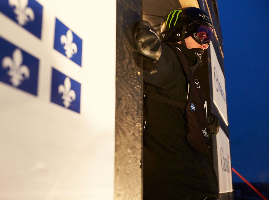 Action and lifestyle shots of Max Parrot winning the Big Air World Cup in Quebec City, Quebec.