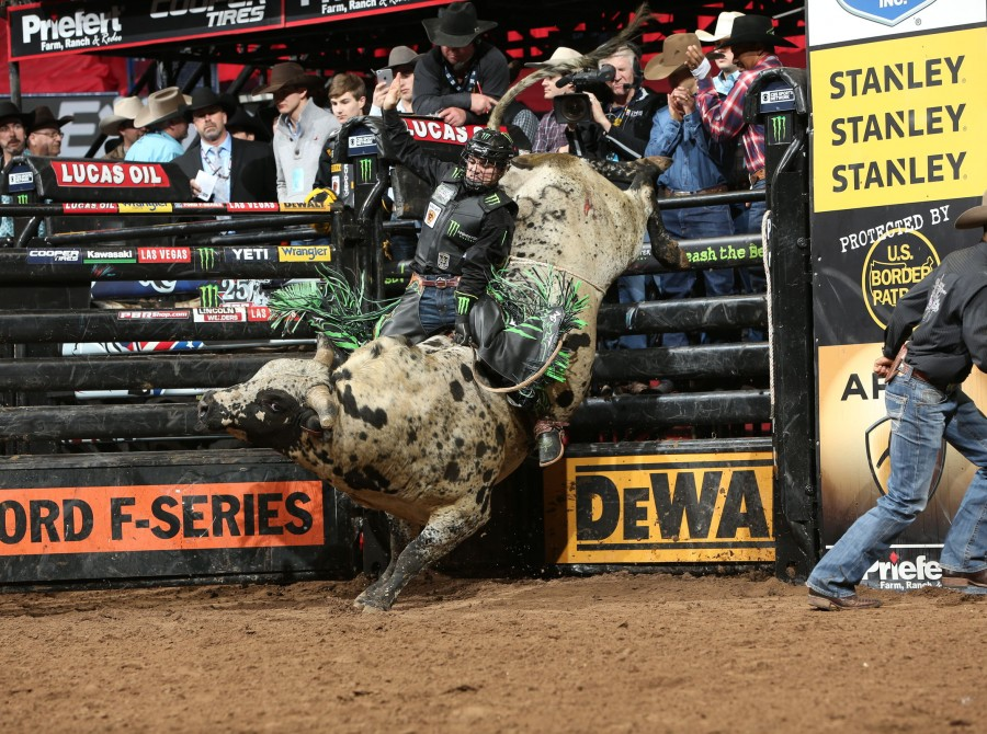 Jose Vitor Leme rides Dakota Rodeo/Chad Berger/Clay Struve/Staci Wilks/N Bar Ranch/Chase Bass's Voo Doo Too for 85 during the first round of the Oklahoma City Unleash the Beast PBR tour.